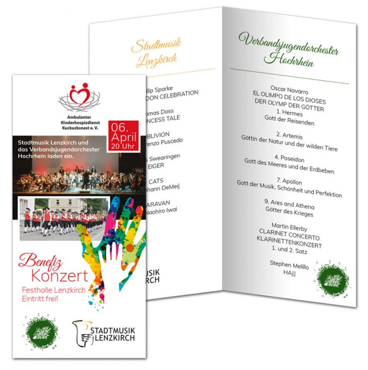 Design Ambulanter Kinderhospizdienst Kuckucksnest Benefizkonzert Flyer