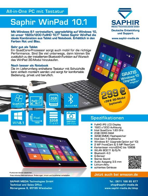 Design der Anzeige zum Saphir Media WinPad Tablet PC