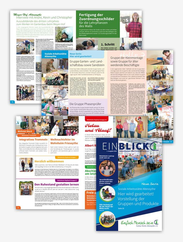 Design Caritas-Verein Altenoythe Hauszeitung Einblick 1 2016