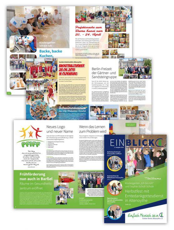 Design der Hauszeitung Einblick für den Caritas-Verein Altenoythe, 1. Ausgabe 2015