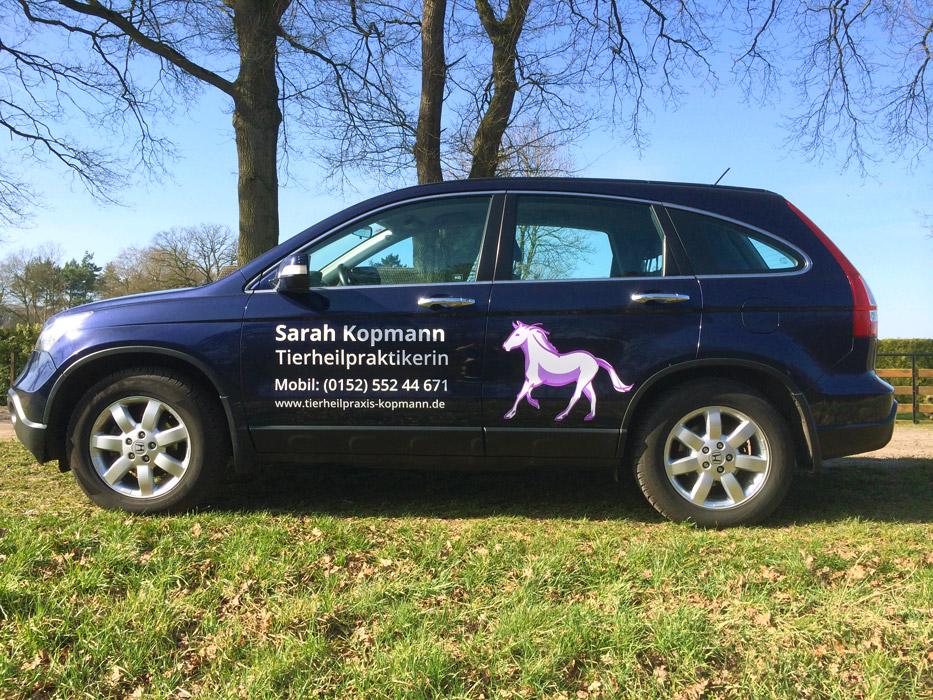 Design Fahrzeugbeschriftung Sarah Kopmann Tierheilpraktikerin
