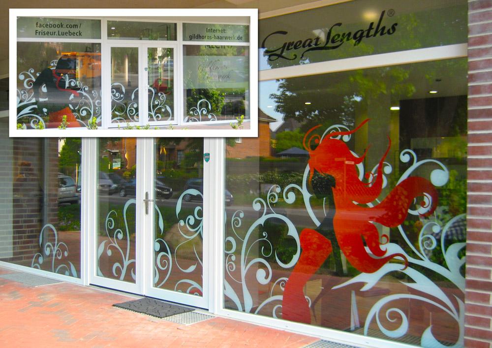 Design Friseur Lübeck Schaufenster Beklebung