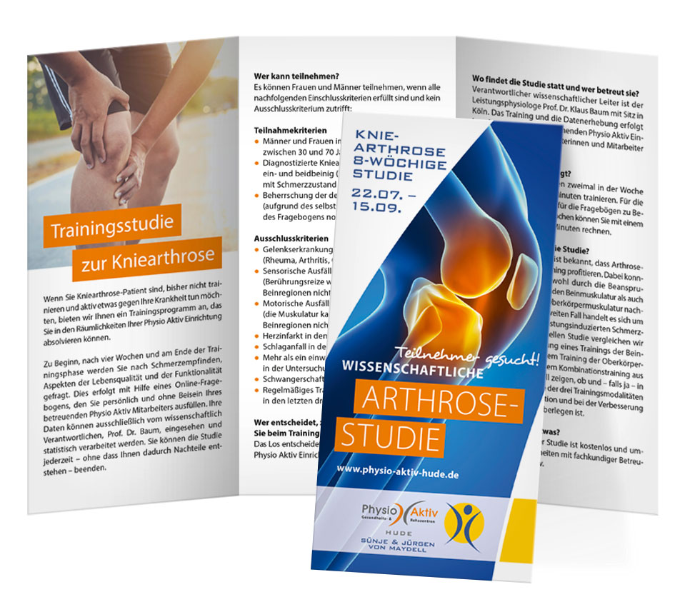 Design Physiotherapie Kniearthrose Faltblatt Physio Aktiv Hude
