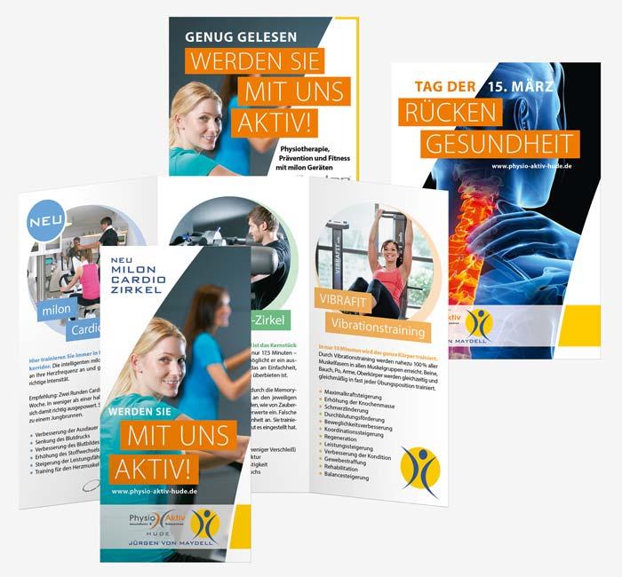 Corporate Design, Flyer, Anzeige, Wurfzettel für Physio Aktiv Hude