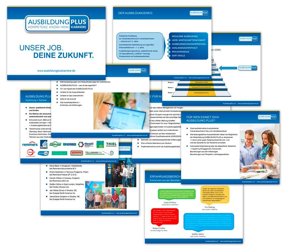 Design der Powerpoint-Präsentation für den Verein Ausbildung.Plus