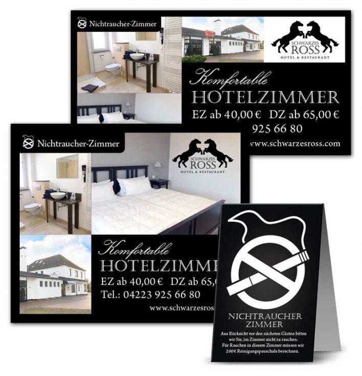 Design der Werbemittel für Hotelzimmer im Schwarzen Ross