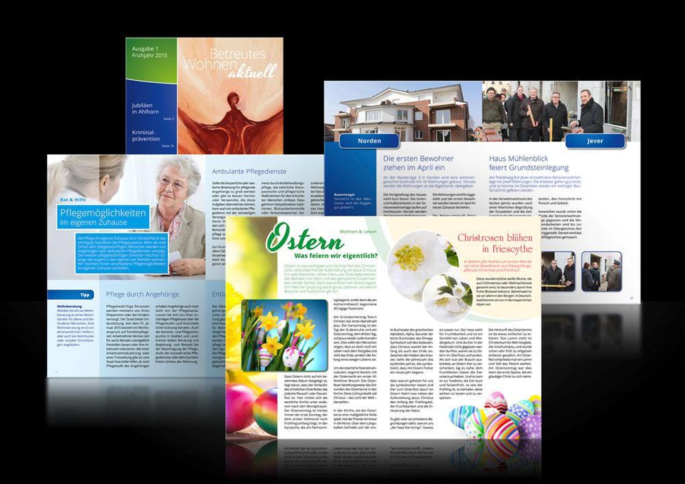 Design Kundenmagazin Betreutes Wohnen aktuell für SeniorenConcept aus Oldenburg
