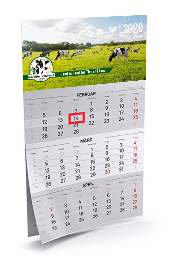 Design des Wandkalenders 2020 für den Landhandel Renke Theilen aus Zetel