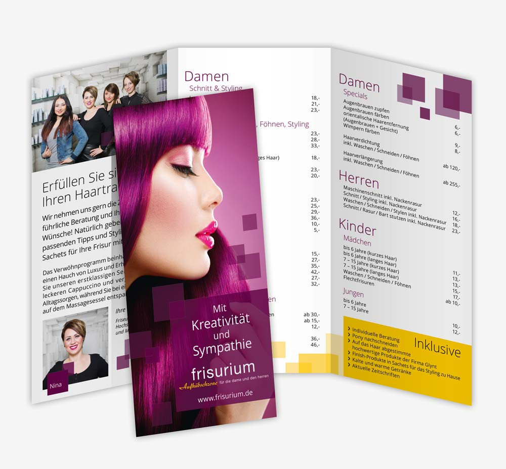 Design frisurium Wildeshausen Faltblatt