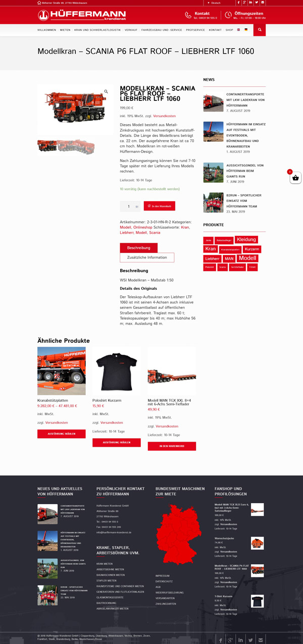 Webdesign E-Commerce Hüffermann Krandienst Shop