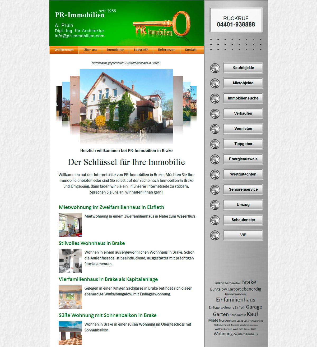 PR-Immobilien Brake Webdesign Homepage