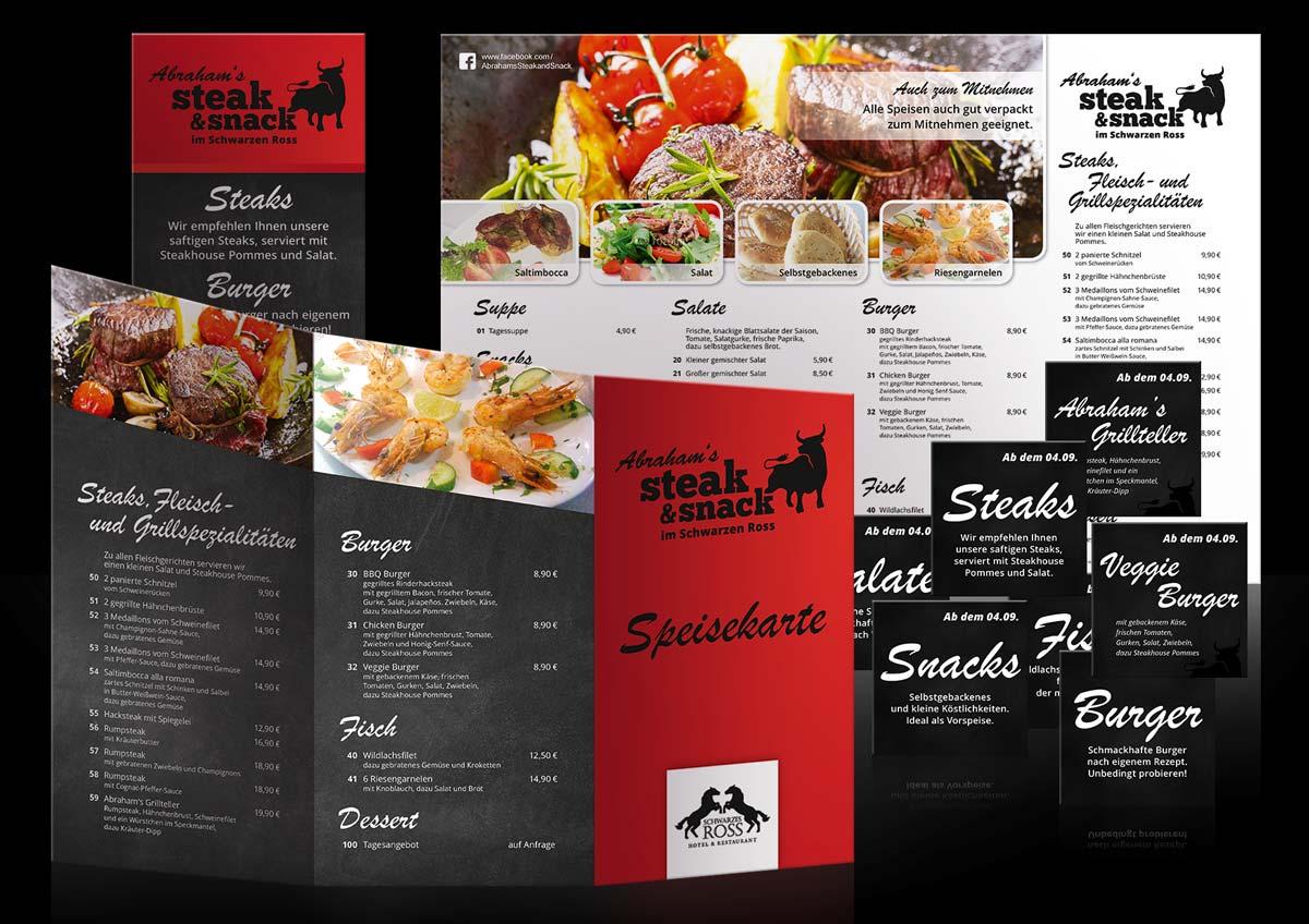 Corporate Design für das Restaurant Schwarzes Ross in Bookholzberg, Abraham's Steak and Snack