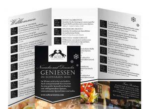Design vom Faltblatt für die Winter-Events 2016 für das Schwarze Ross