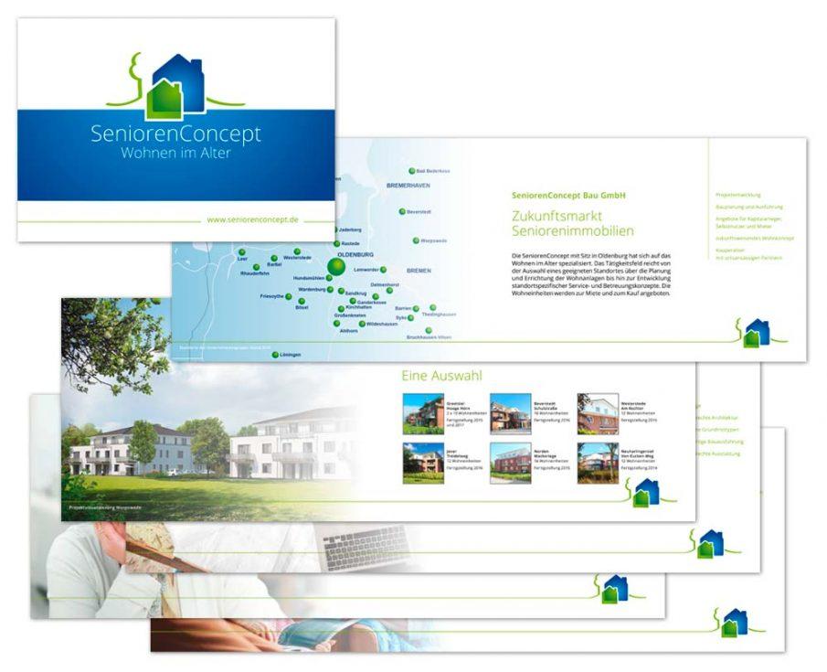 Design der Imagebroschüre für SeniorenConcept aus Oldenburg