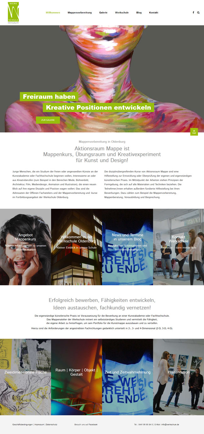 Homepage aktion-mappe.de der Werkschule Oldenburg