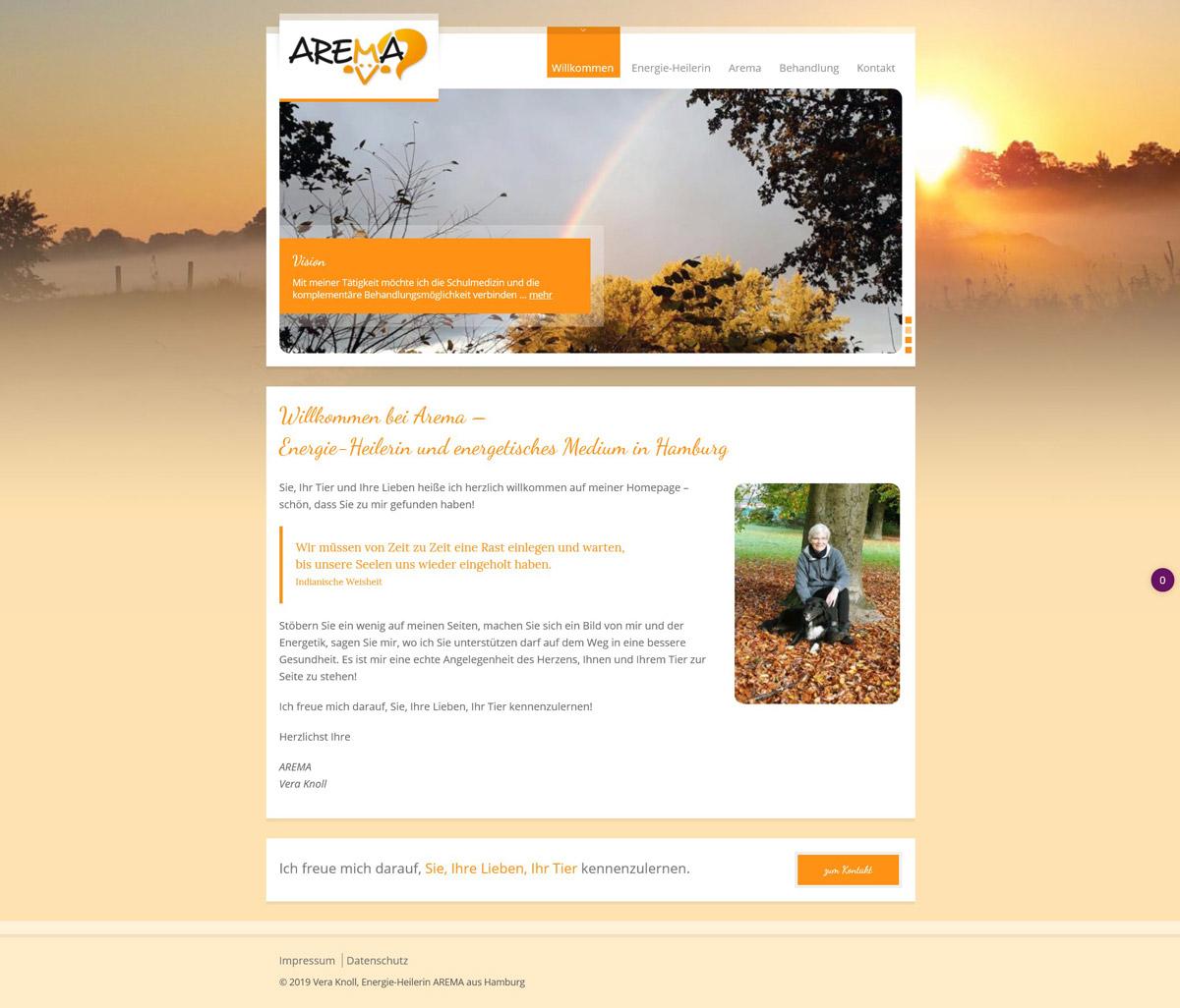 Webdesign für Arema, Vera Knoll aus Hamburg