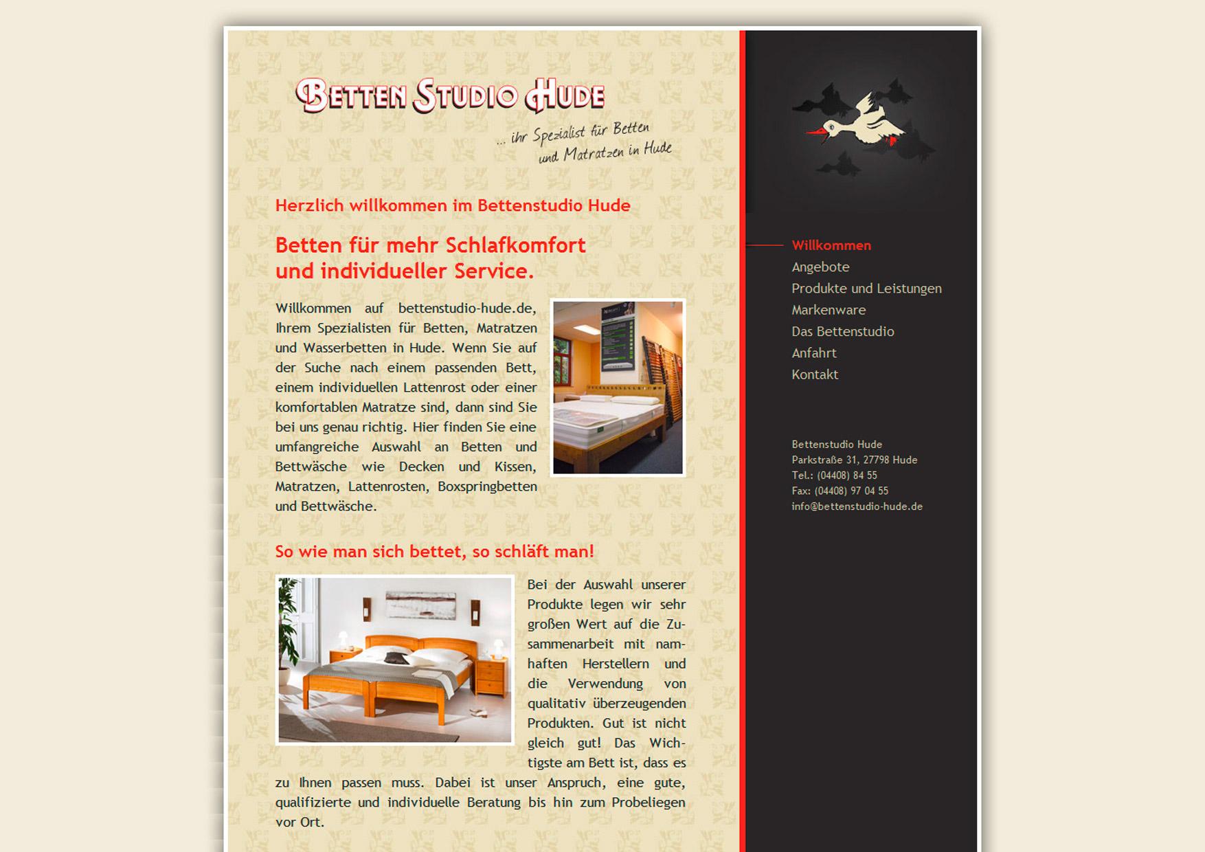 Webdesign der Homepage für das Bettenstudio Hude