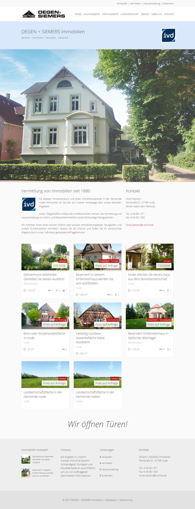 Webdesign Homepage Degen und Siemers