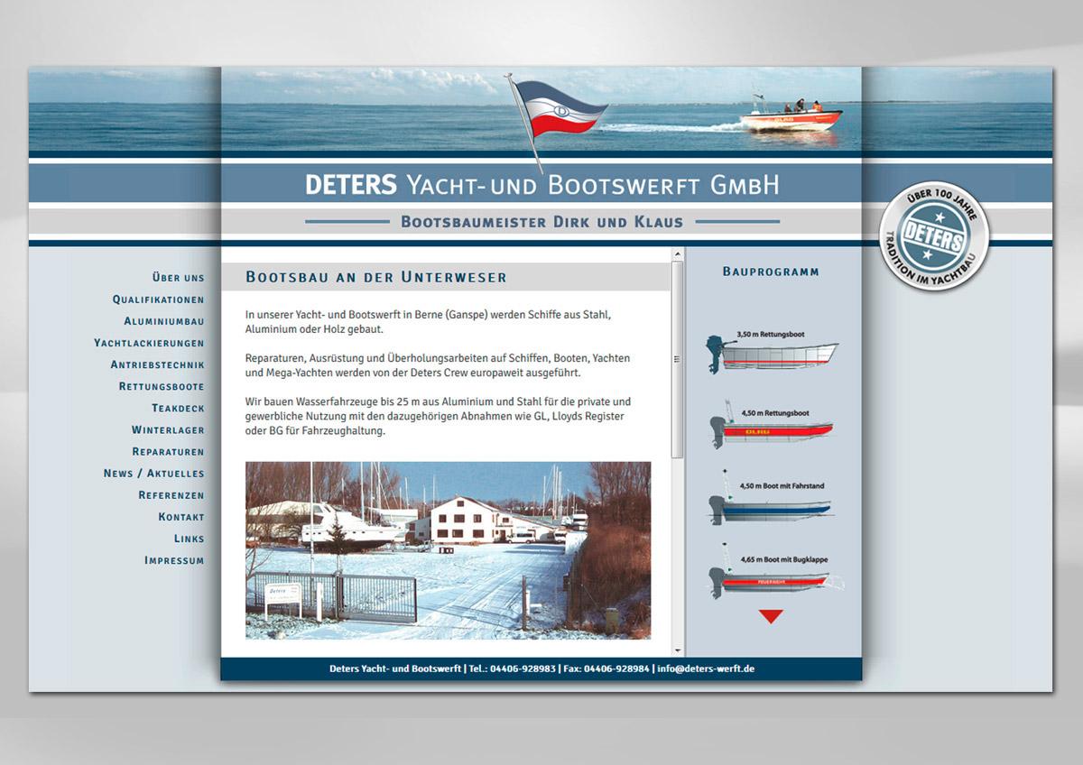 Webdesign der Homepage für die Deters Werft