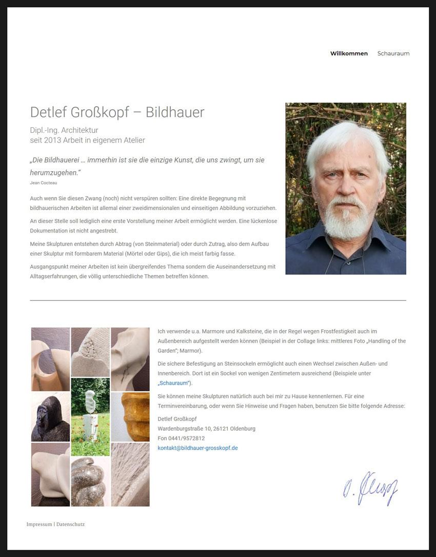 Webdesign der Homepage für den Bildhauer Detlef Großkopf aus Oldenburg