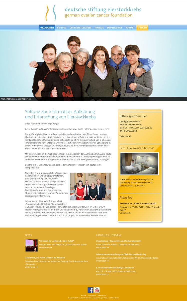 Webdesign Deutsche Stiftung Eierstockkrebs