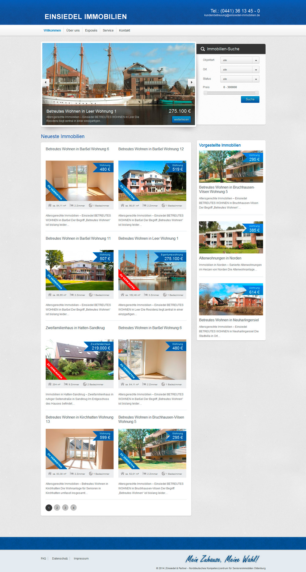 Webdesign Einsiedel Immobilien Portal