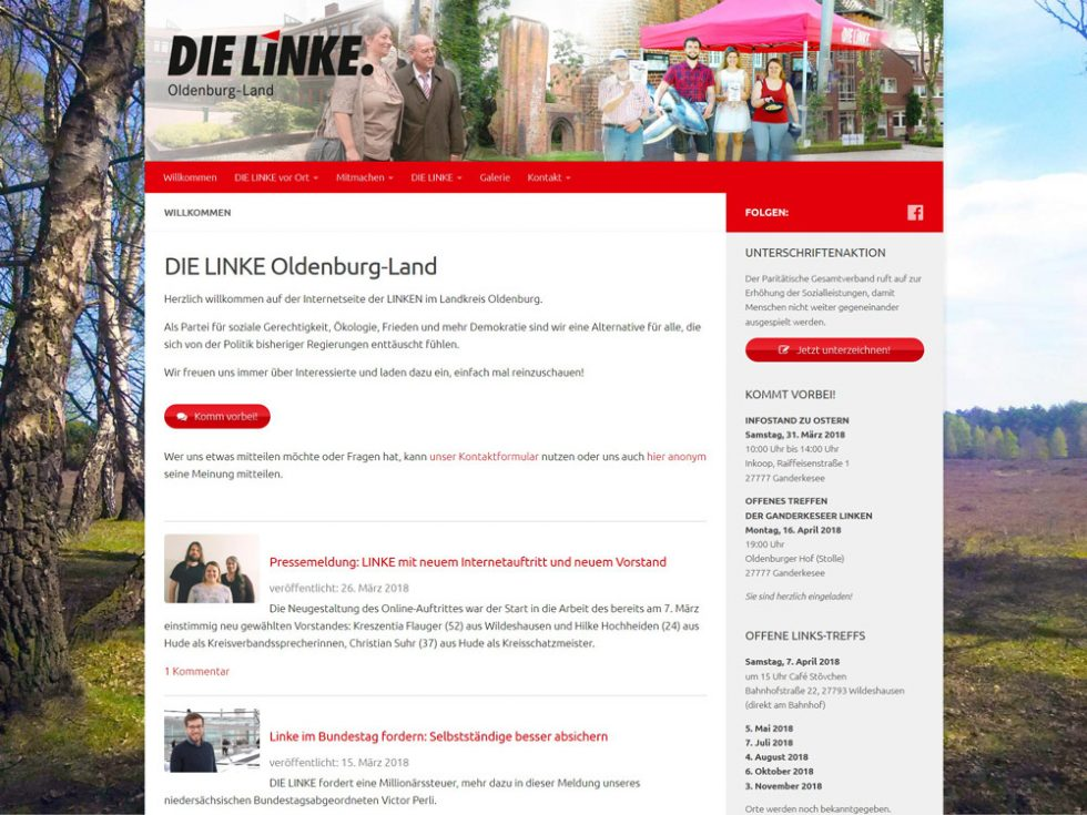 Webdesign Homepage DIE LINKE Kreisverband Oldenburg-Land