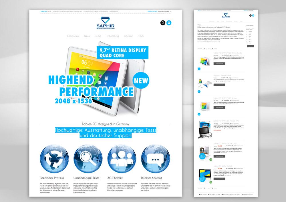 Webdesign der Homepage für einen E-Commerce Shop für Tablet PCs