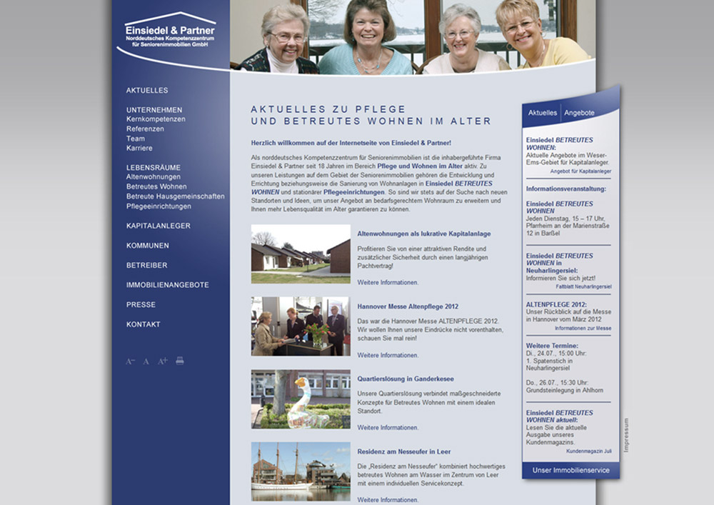 Webdesign Homepage Einsiedel und Partner Oldenburg
