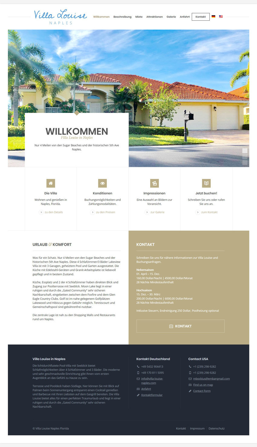 Webdesign-Homepage-Ferienwohnung-Villa-Louise-in-Naples-Florida