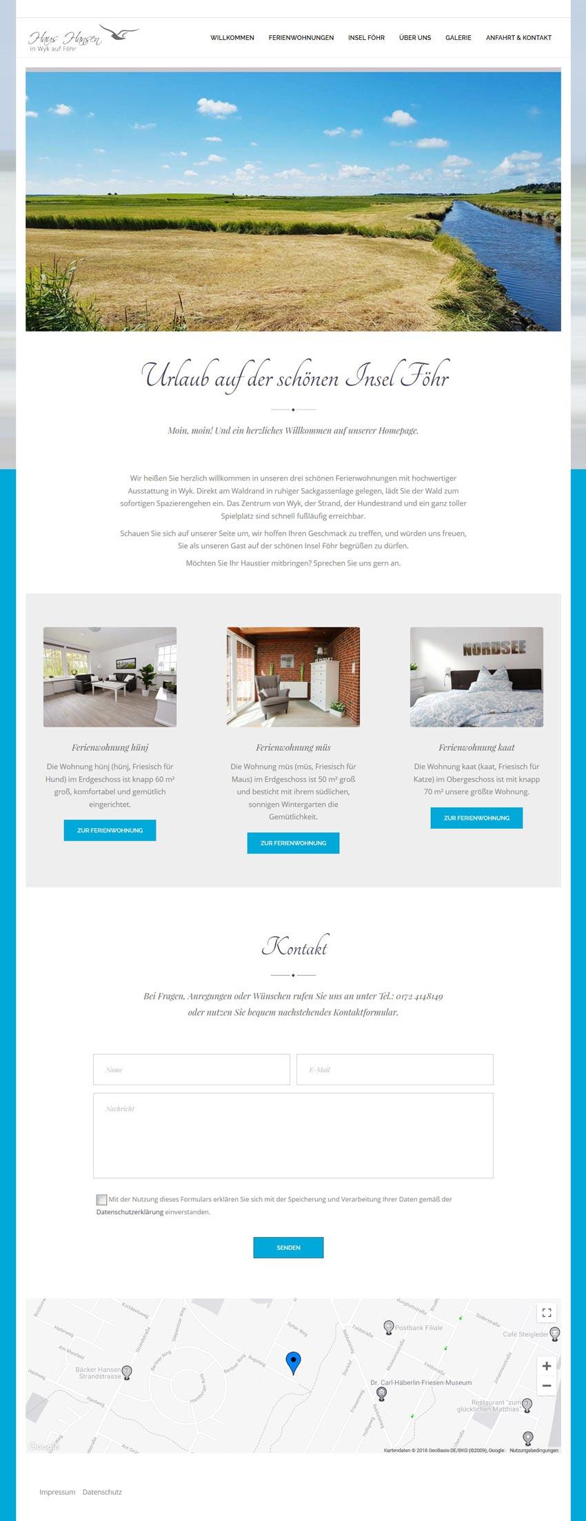 Webdesign für Ferienwohnungen auf der Insel Föhr