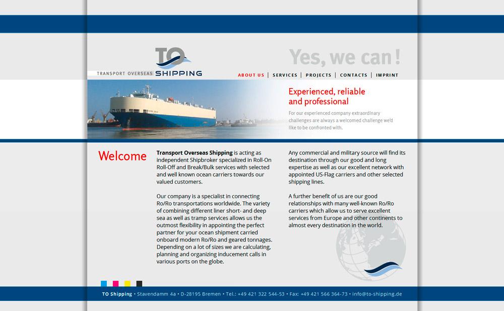 Webdesign der Homepage für ein Logistik-Unternehmen