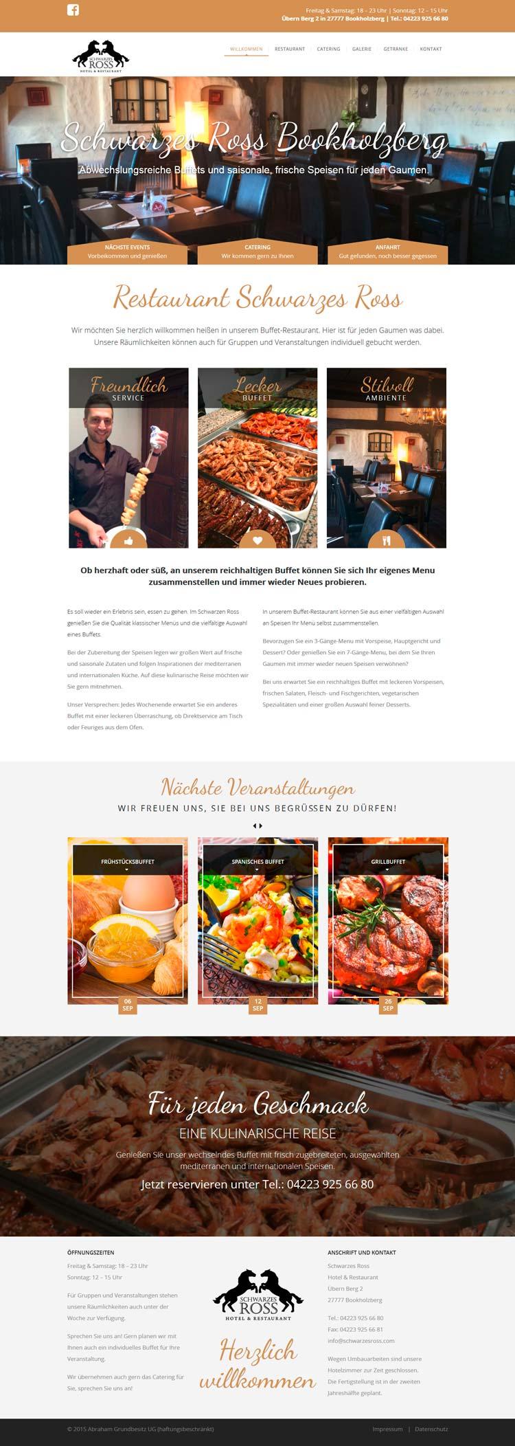 Webdesign der Homepage für das Restaurant Schwarzes Ross in Bookholzberg, Ganderkesee