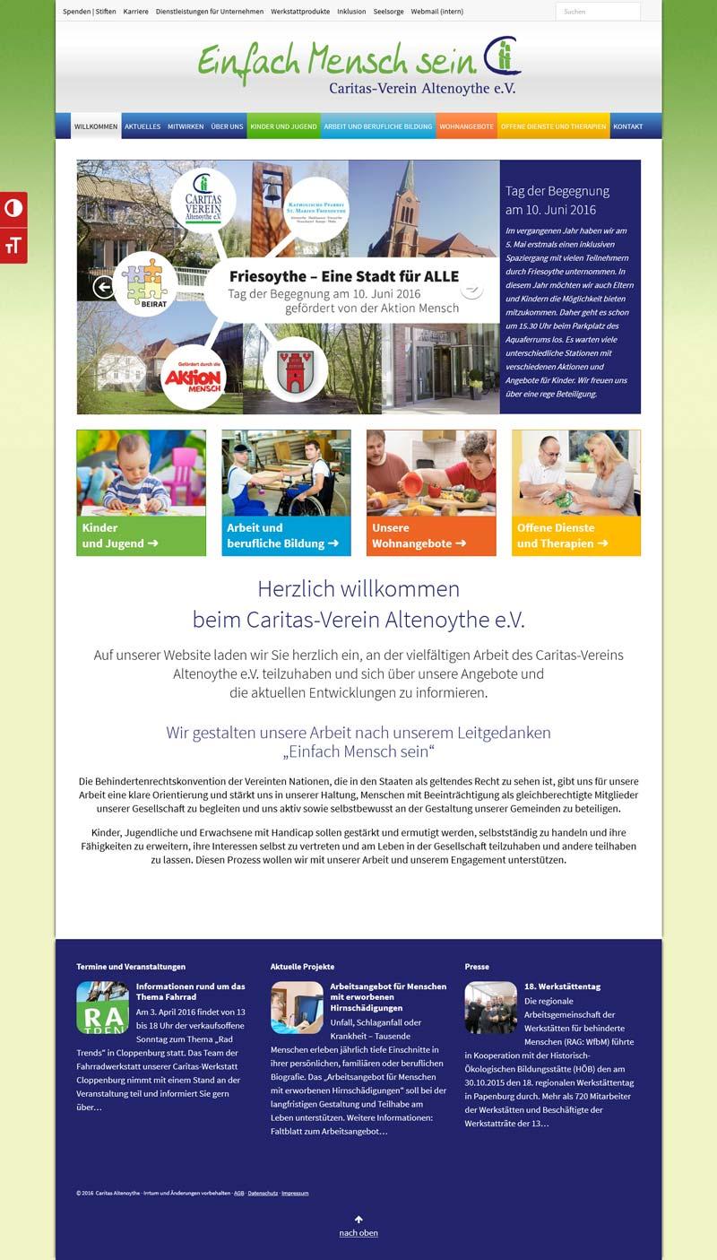 Webdesign der Homepage www.caritas-altenoythe.de vom Caritas-Verein Altenoythe