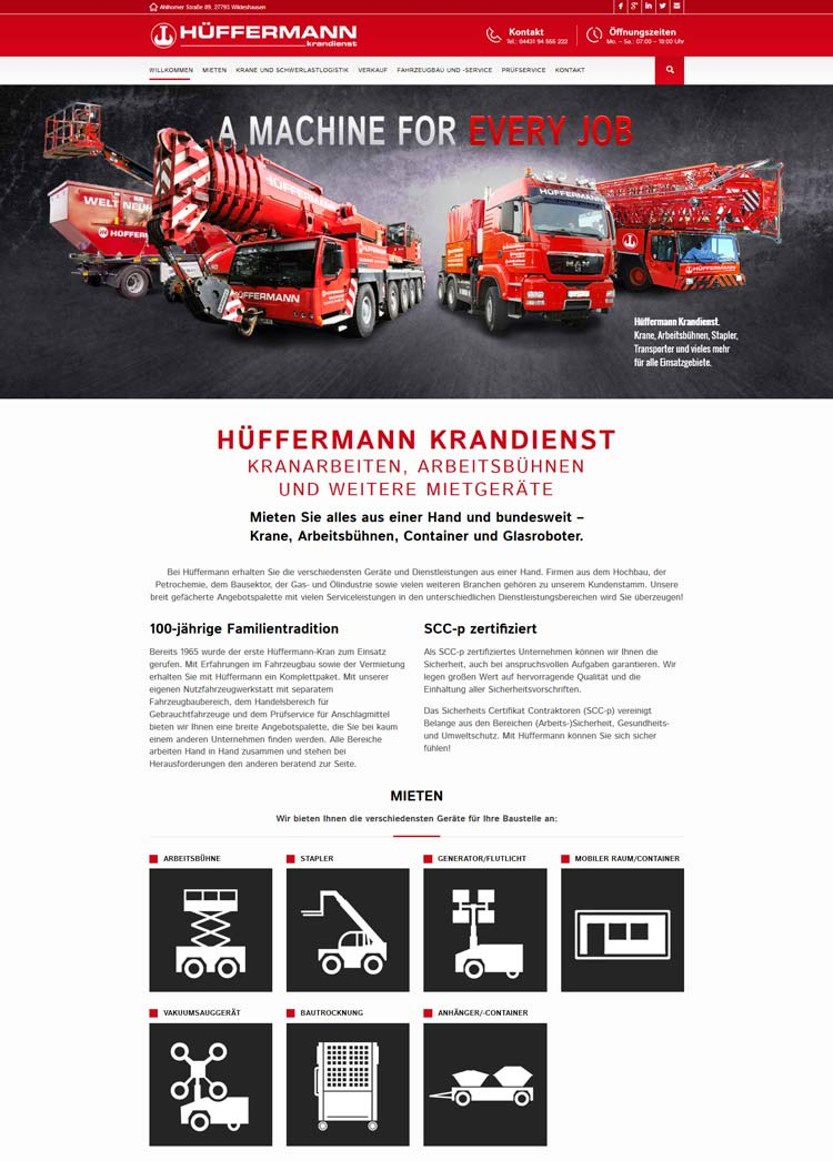 Webdesign der Homepage für den Hüffermann Krandienst