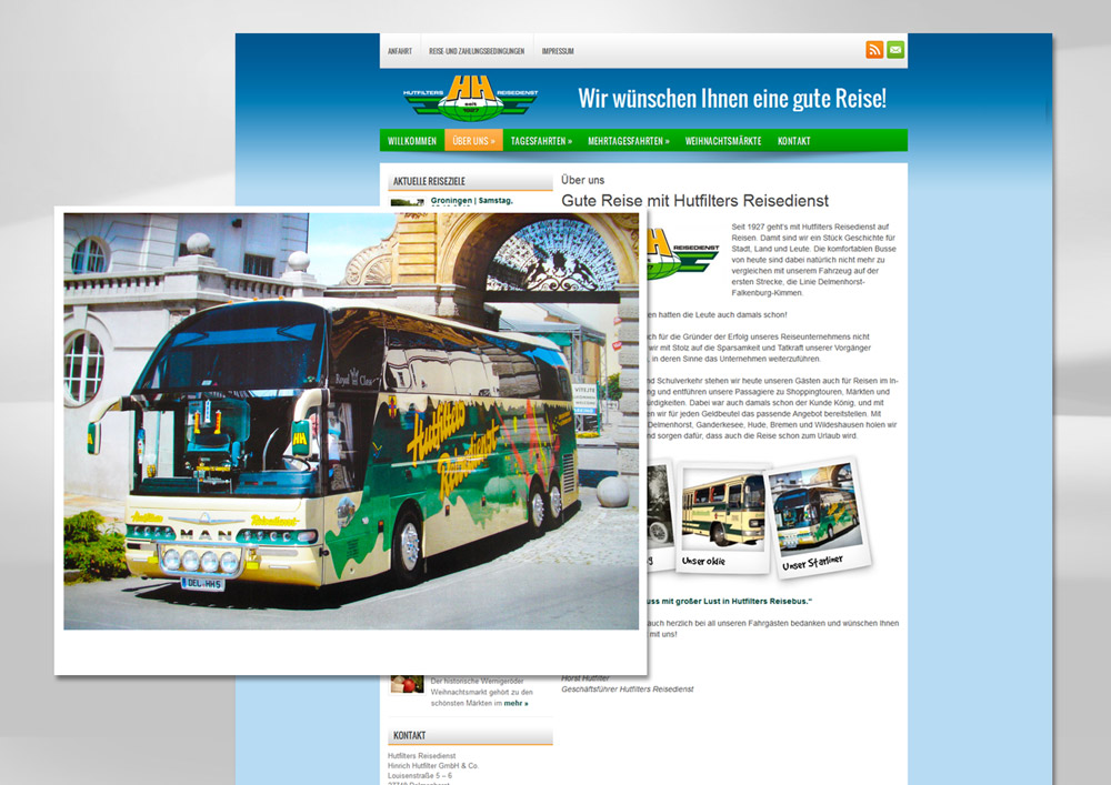 Webdesign Hutfilters Reisedienst Delmenhorst