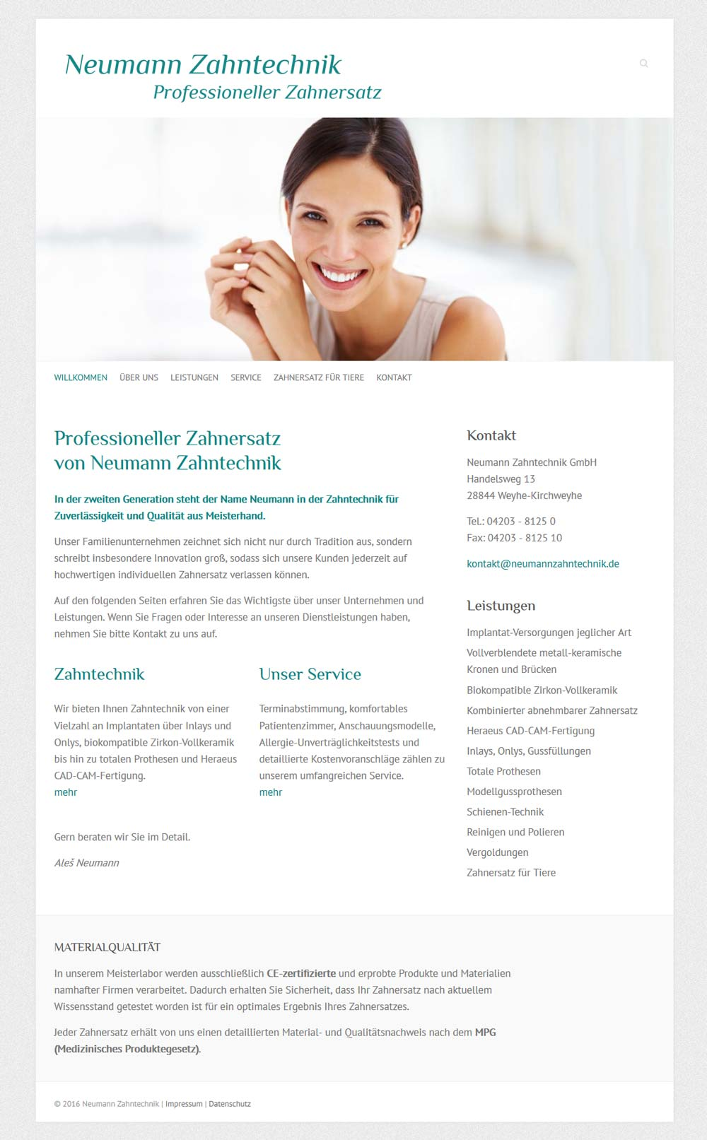 Webdesign Neumann Zahntechnik