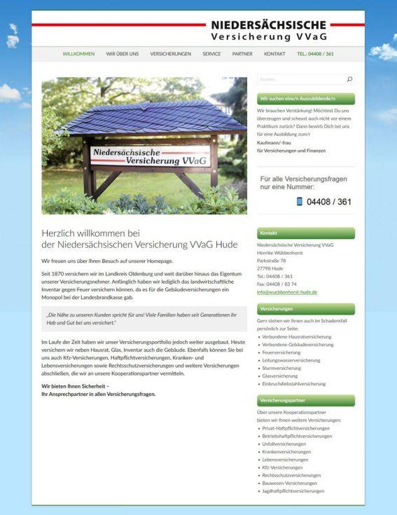Webdesign Niedersächsische Versicherung VVaG Hude