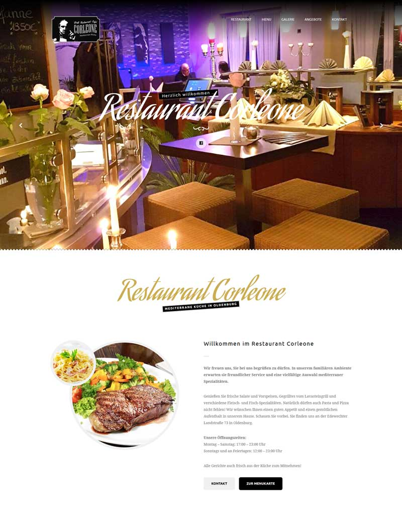 Webdesign der Homepage für das Restaurant Corleone