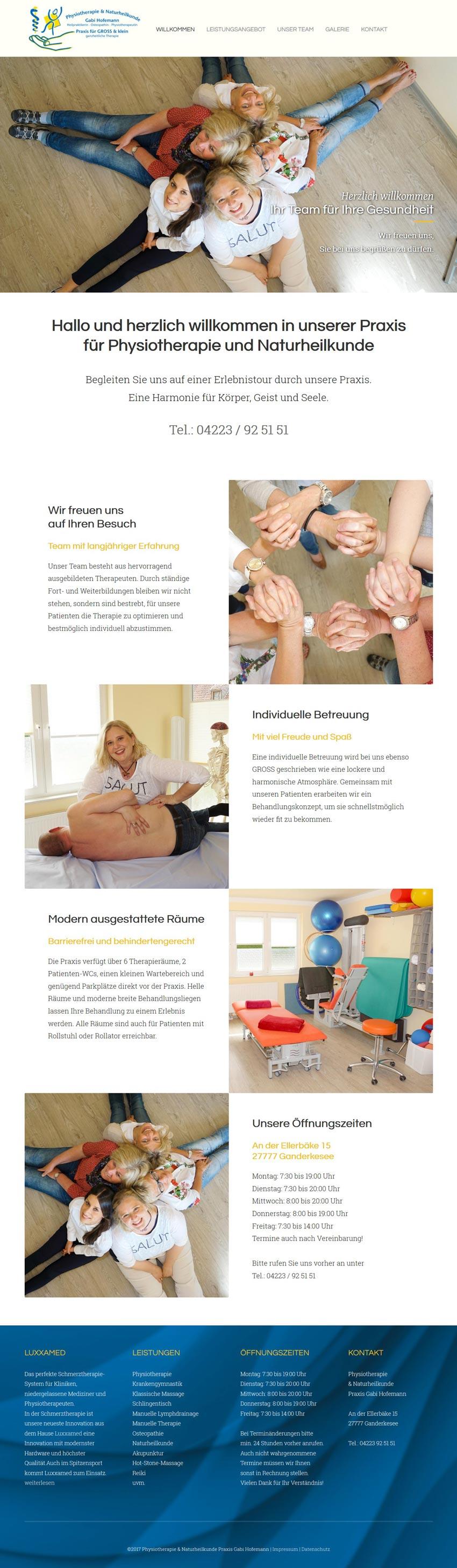 Webdesign Praxis Gabi Hofemann Physiotherapie Ganderkesee