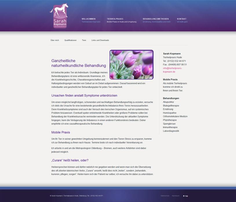 Webdesign Sarah Kopmann Tierheilpraxis Hude Oldenburg