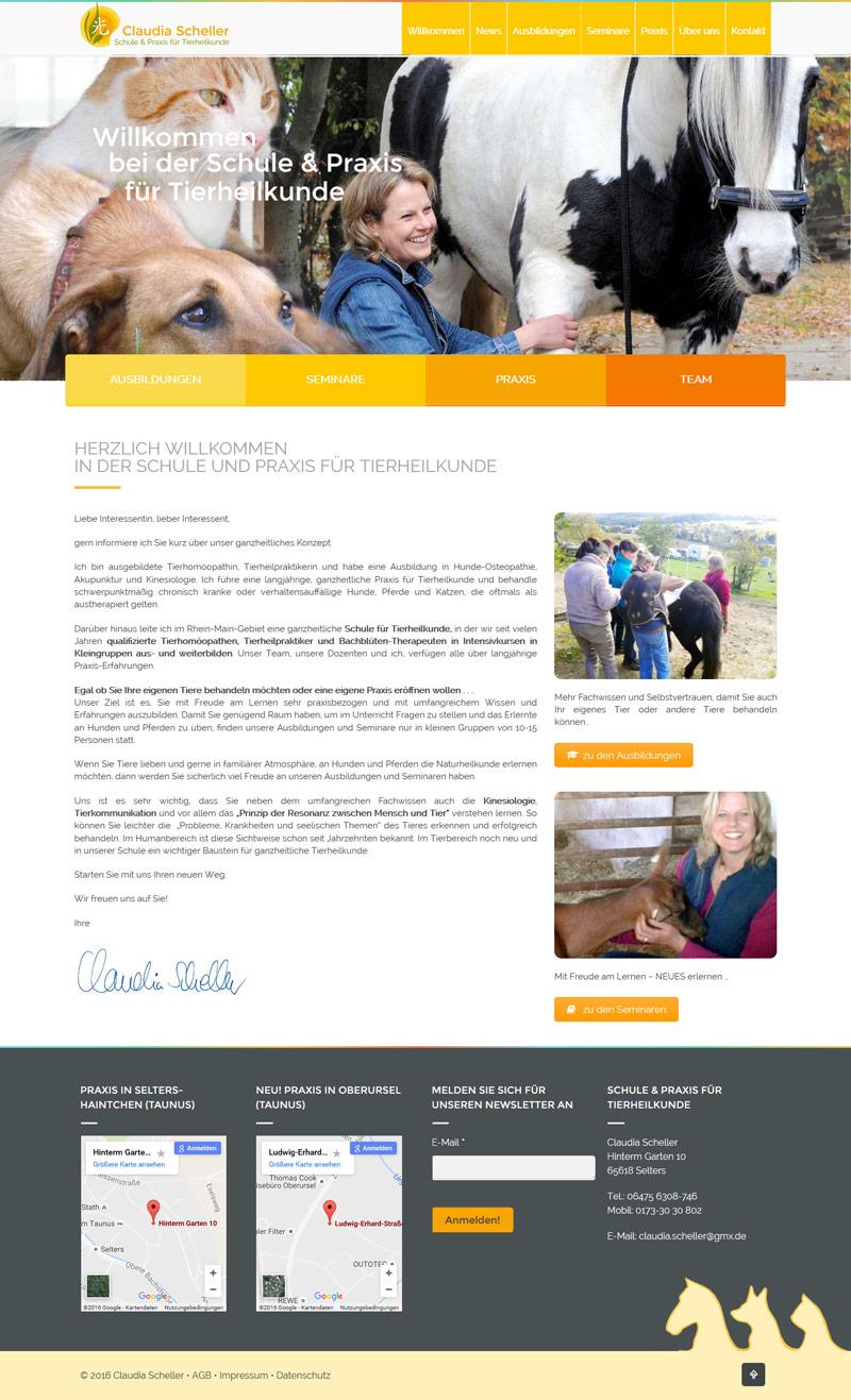 Webdesign Schule und Praxis für Tierheilkunde Claudia Scheller