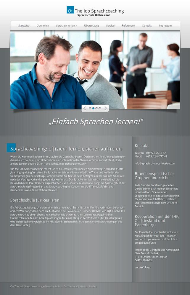 Webdesign Sprachschule Ostfriesland-Sprachcoaching
