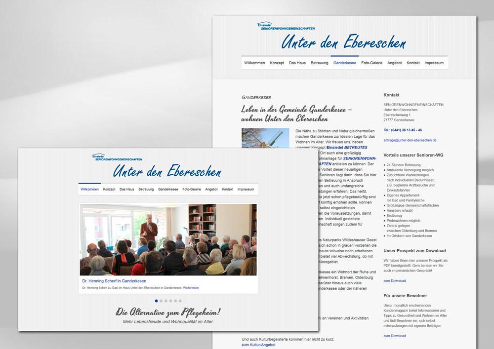 Webdesign der Homepage Unter den Ebereschen