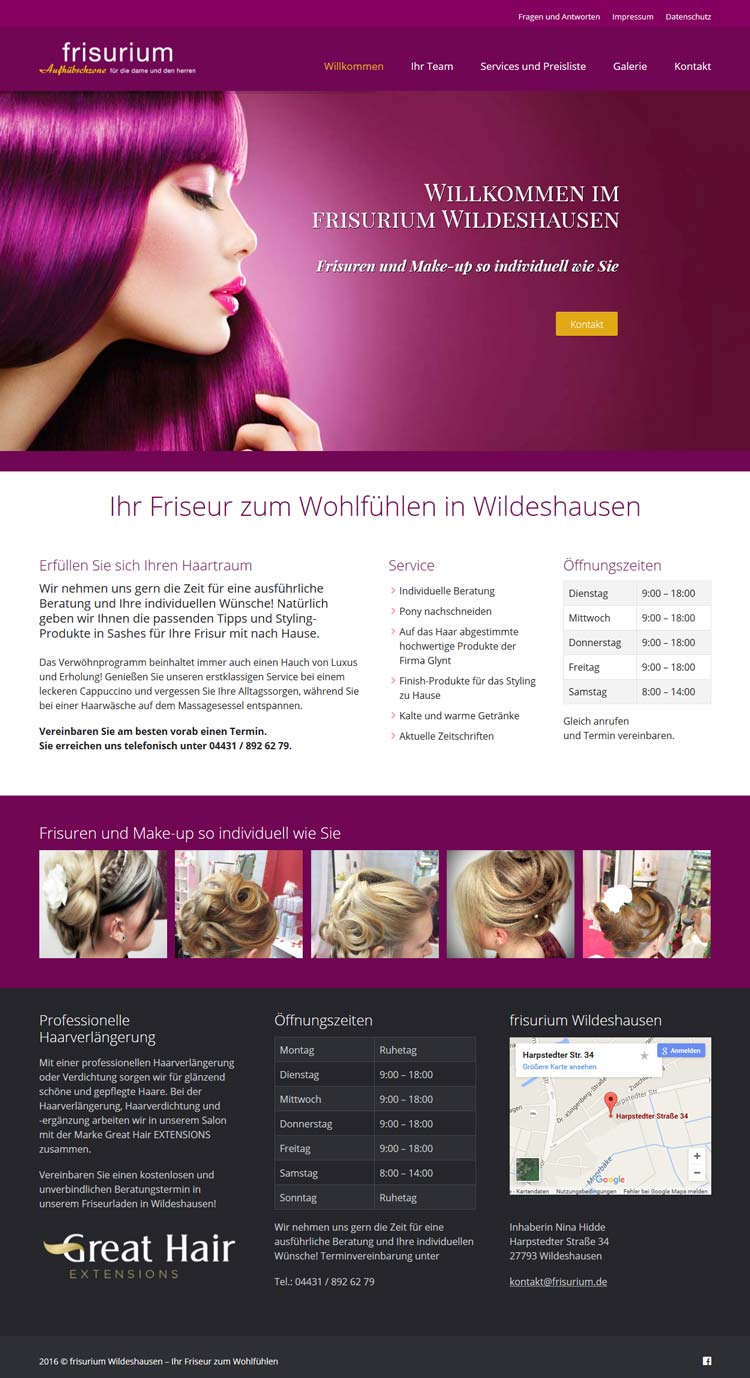 Webdesign frisurium Wildeshausen