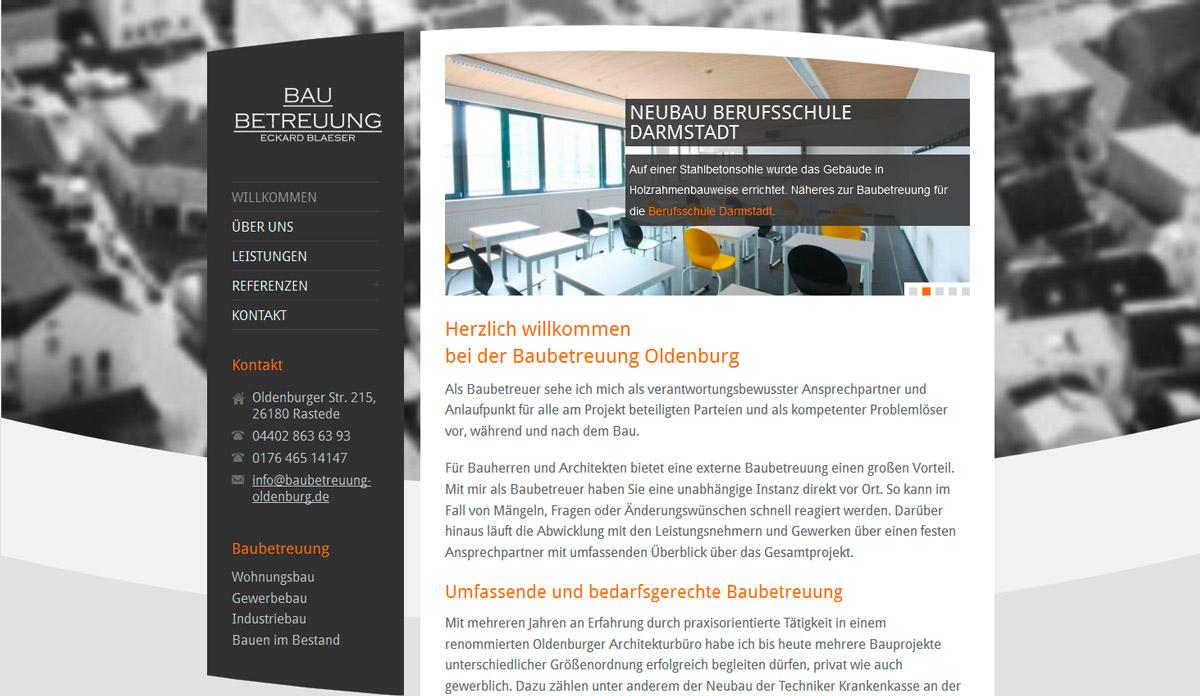 Webdesign für Baubetreuung Eckard Blaeser aus Oldenburg