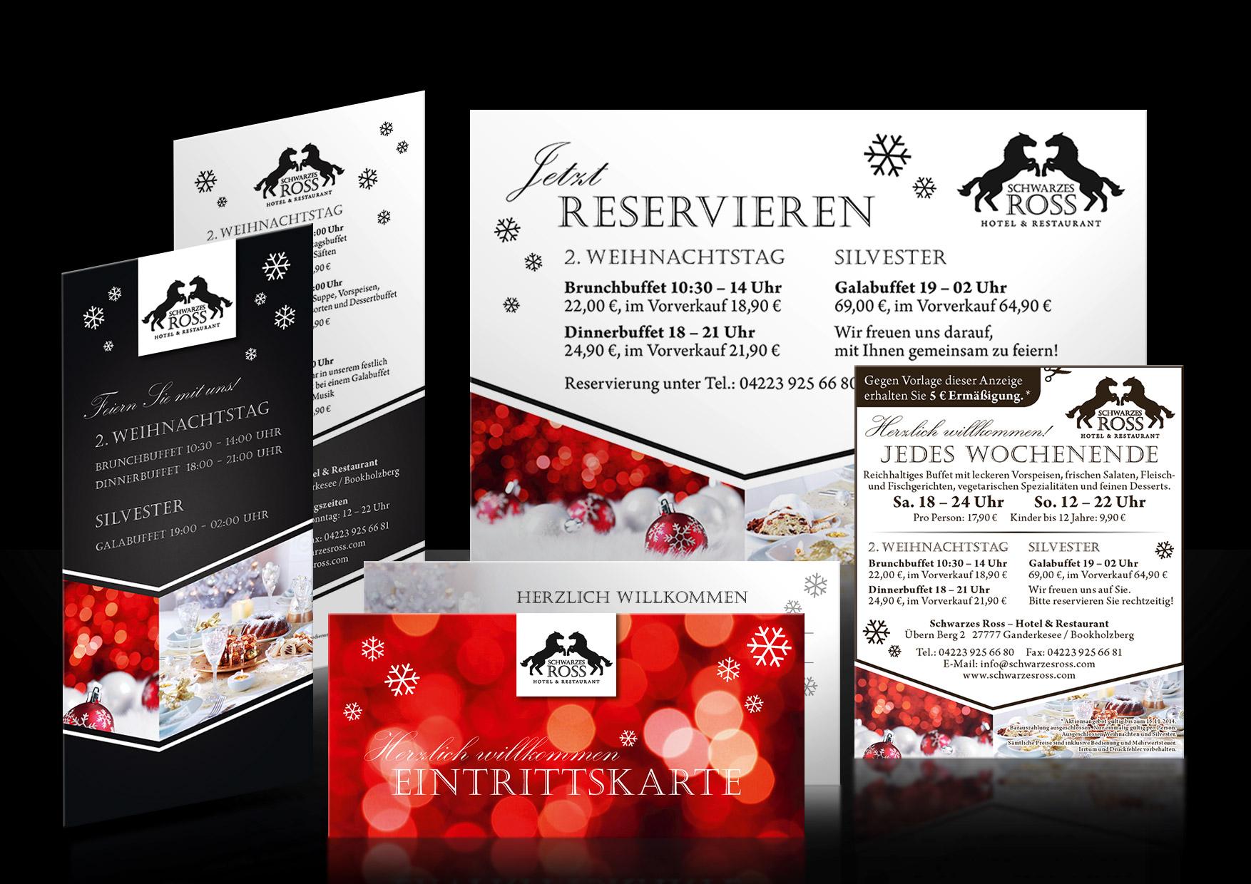 Werbedesign-Weihnachten-Silvester-Restaurant-Schwarzes-Ross-Bookholzberg