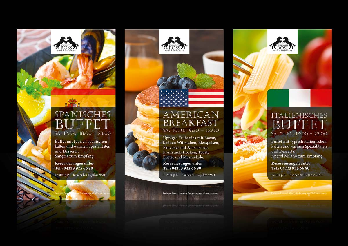 Werbung für das Design der Event-Ankündigungen für das Restaurant Schwarzes Ross