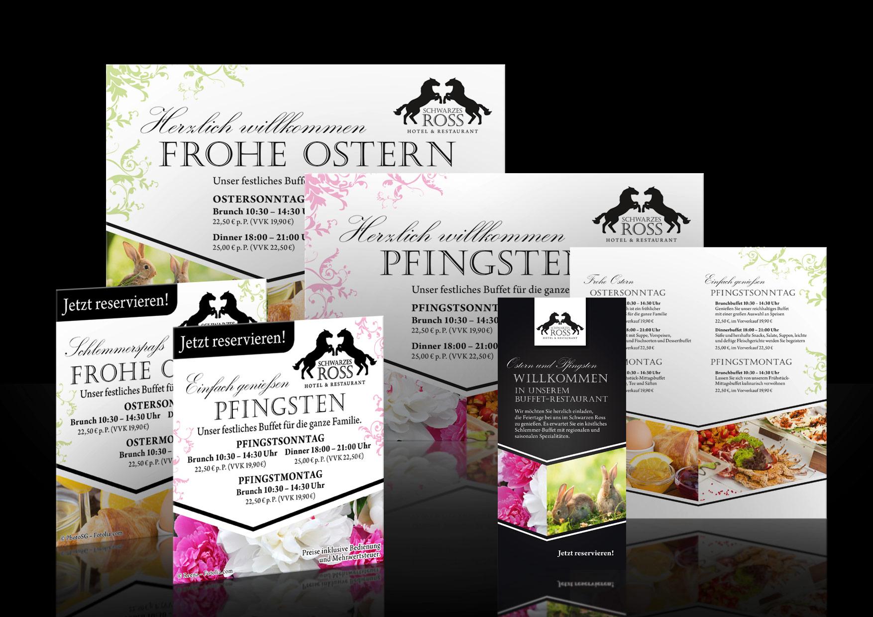 Werbung-Design-Restaurant-Schwarzes-Ross-Ostern-Pfingsten