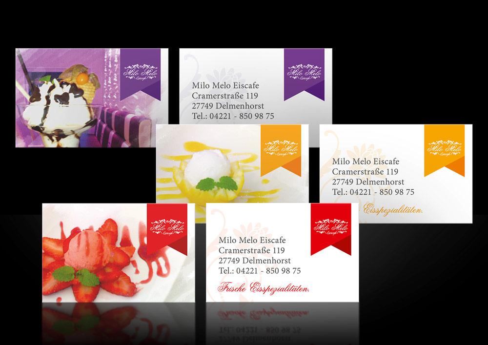 Werbung-Design-Visitenkarten-Eiscafe-Milo-Melo-Delmenhorst